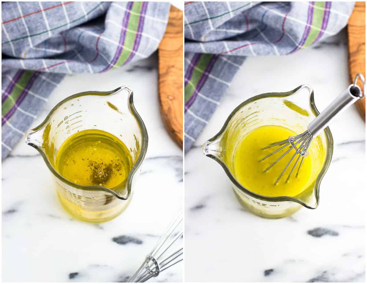 Dressing ingredients in a glass measuring cup before being whisked (left) and after (right).