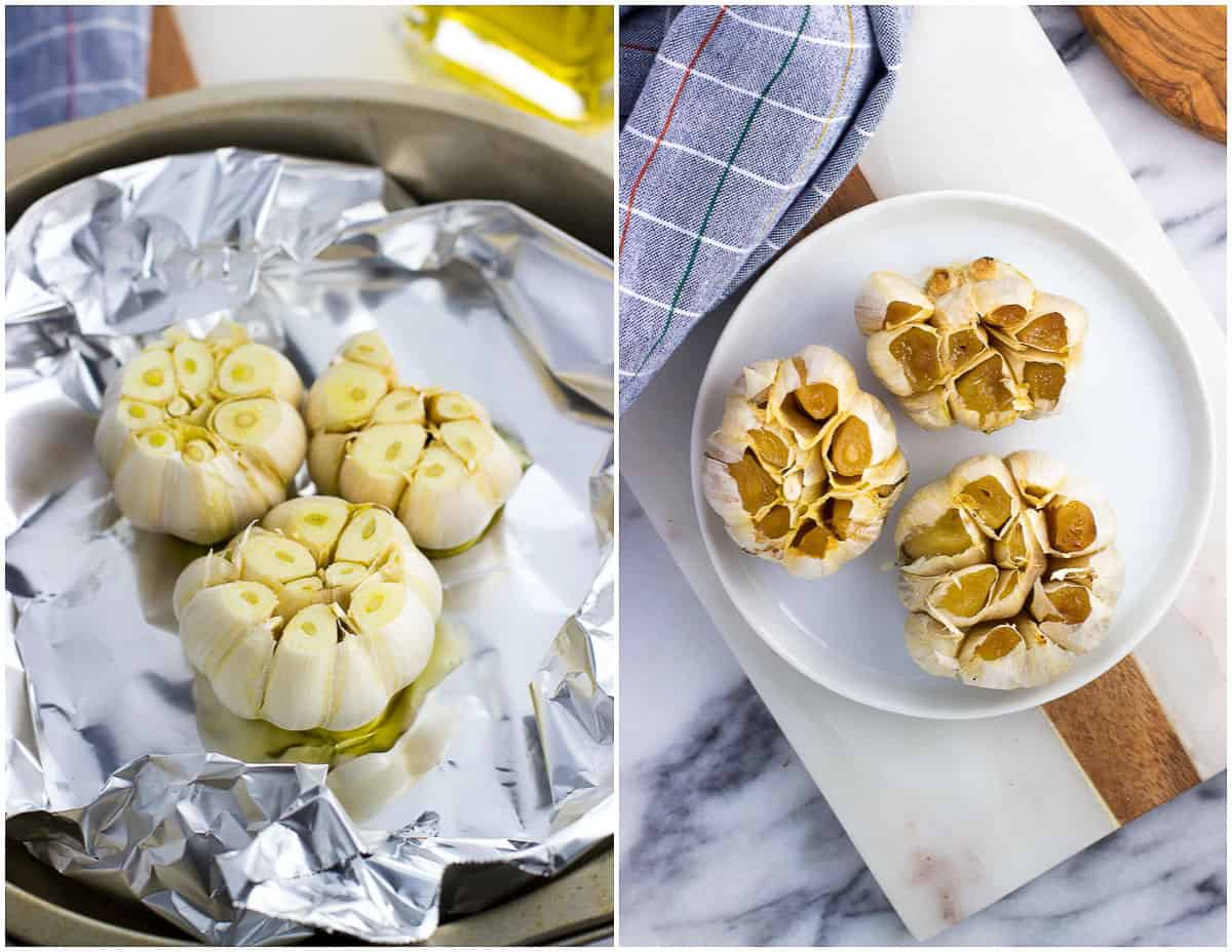 Raw whole garlic cloves on foil (left) and on a plate after roasting (right).