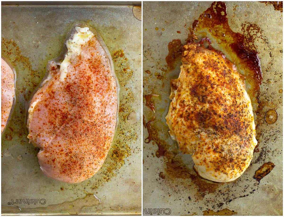 Seasoned chicken breast on a pan raw (left) and cooked (right).