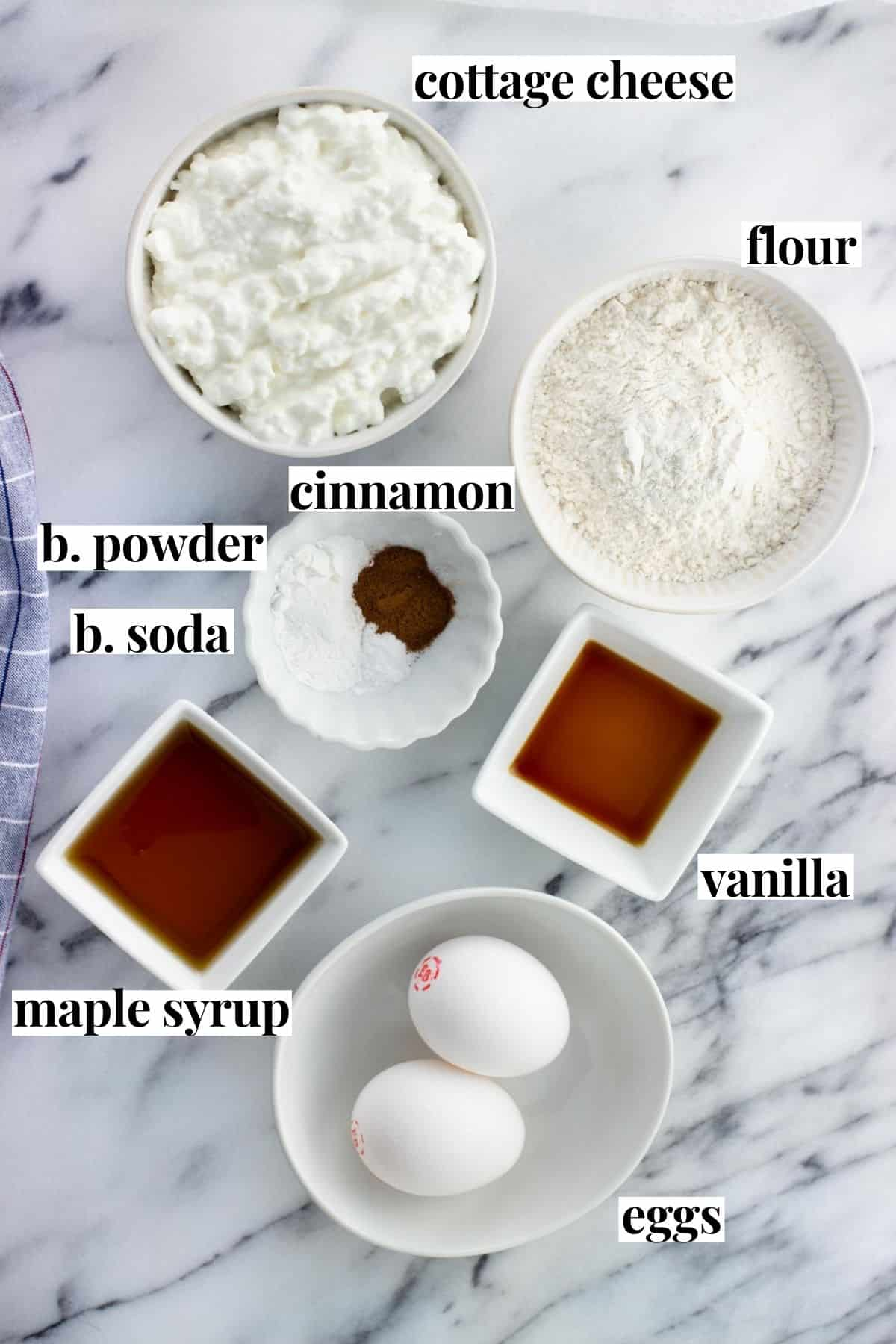 Labeled cottage cheese pancake ingredients on a board.